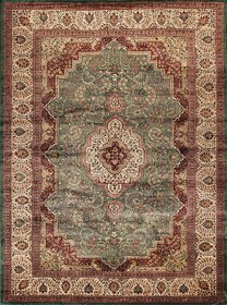 Rugsville Kashmir Silk Collection Red Black Hand-Knotted Silk Rug 21429 8x10 feet