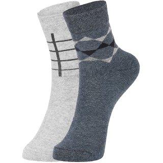 DUKK Men's Grey  Navy Blue Ankle Length Cotton Lycra Socks (Pack of 2)