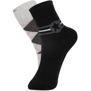 DUKK Men's Grey  Black Glean Length Cotton Lycra Socks (Pack of 2)