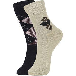 DUKK Men's Navy Blue  Beige Glean Length Cotton Lycra Socks (Pack of 2)