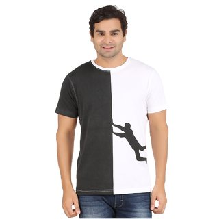 YUKTH Men's Printed Half sleeve Round Neck T-shirt White