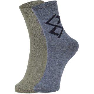 DUKK Men's Green  Grey Ankle Length Cotton Lycra Socks (Pack of 2)