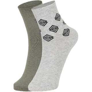 DUKK Men's Green  Grey Ankle Length Cotton Lycra Socks (Pack of 2)