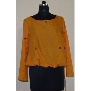Turmeric long sleeve waist tie over Kurti