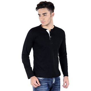 Zembo Black Henley Full Sleeve T-shirt
