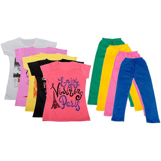 IndiWeaves Girls Cotton Leggings With T-Shirts(Pack of 4 Legging and 5 T-Shirts )Multi-ColouredPink30