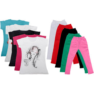 Indistar Girls Cotton T-shirt With Leggings(Pack of 5 T-Shirts and 5 Leggings)RedWhiteMulticolored30