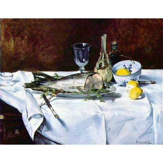 The Museum Outlet - Still Life with Salmon by Manet - Poster Print Online Buy (30 X 40 Inch)