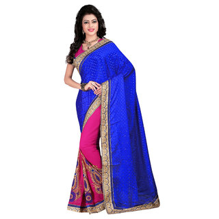 Fashionoma Blue Georgette Embroidered Saree With Blouse