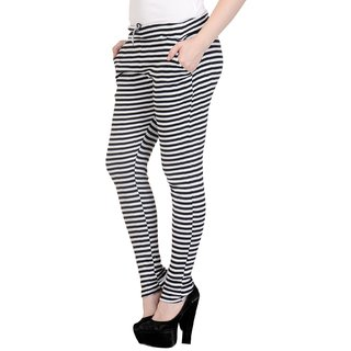 Simmer White  Black Strip Drosting Pant