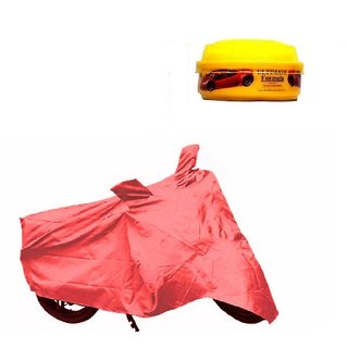 Bull Rider Bike Body Cover With Mirror Pocket For Hero Achiver (Colour Red) + Free Wax Shine Polish Worth Rs 100/