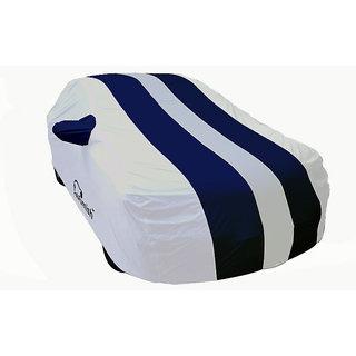 Autofurnish Stylish Blue Stripe Car Body Cover For Datsun Go+   - Arc Silver