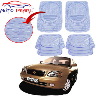 Auto Pearl - Premium Quality Heavy Duty Transparent 4Pc Pvc Rubber 6204 Clear Car Mat For - Maruti Suzuki Baleno