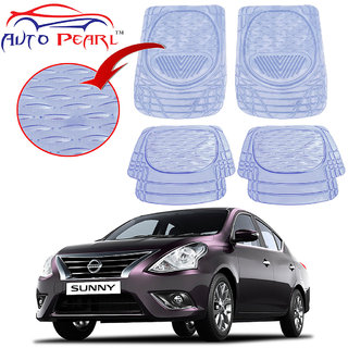 Auto Pearl - Premium Quality Heavy Duty Transparent 4Pc Pvc Rubber 6204 Clear Car Mat For - Nissan Sunny