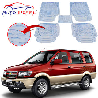 Auto Pearl - Premium Quality Heavy Duty Transparent 5Pc Pvc Rubber 6255 Clear Car Mat For - Chevrolet Tavera