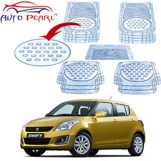 Auto Pearl - Premium Quality Heavy Duty Transparent 5Pc Pvc Rubber 6604 Clear Car Mat For - Maruti Suzuki Swift New Model