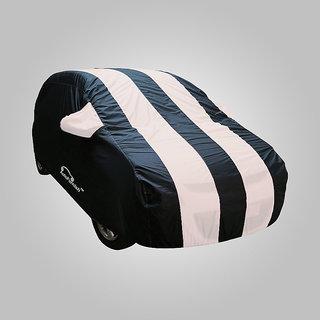 Autofurnish Stylish White Stripe Car Body Cover For Hyundai Santro Xing  - Arc White Blue