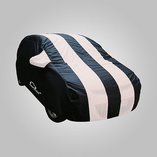 Autofurnish Stylish White Stripe Car Body Cover For Mahindra e2o   - Arc White Blue