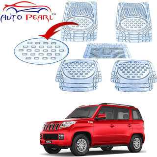 Auto Pearl - Premium Quality Heavy Duty Transparent 5Pc Pvc Rubber 6604 Clear Car Mat For - Mahindra TUV 300