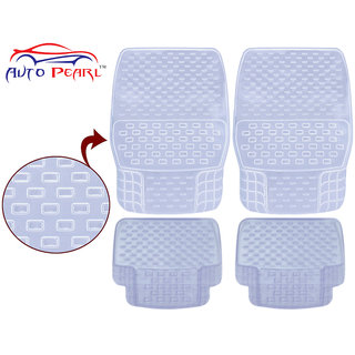 Auto Pearl - Premium Quality Heavy Duty Transparent 4Pc Pvc Rubber 93043 Clear Car Mat For - Toyota Fortuner