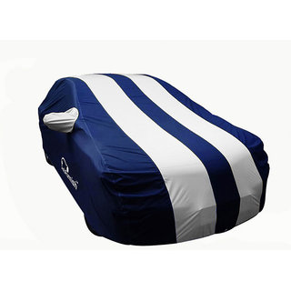 Autofurnish Stylish Silver Stripe Car Body Cover For Hyundai Santro Xing  - Arc Blue