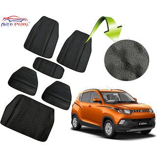 Auto Pearl - Premium Quality Ultra Thin Heavy Duty Car Floor Lamination With Boot Black Pvc Carpet - Mahindra Kuv 100(LaminationBlk5PcBootKUV100)