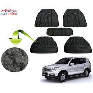 Auto Pearl - Premium Quality Ultra Thin Heavy Duty Car Floor Lamination Black PVC Carpet  - Mahindra Rexton