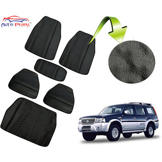 Auto Pearl - Premium Quality Ultra Thin Heavy Duty Car Floor Lamination with Boot Black PVC Carpet  - Ford Endeavour