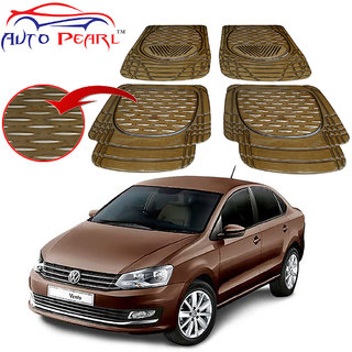 Auto Pearl - Premium Quality Heavy Duty Black 4Pc Pvc Rubber 6204 Smoke Car Mat For - Volkswagen Vento