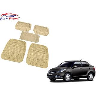 Auto Pearl - Premium Luxurious Quality Heavy Duty Light Weight Beige 5Pc Pvc Rubber 8855Tw Car Mat For - Maruti Suzuki Swift Dzire New