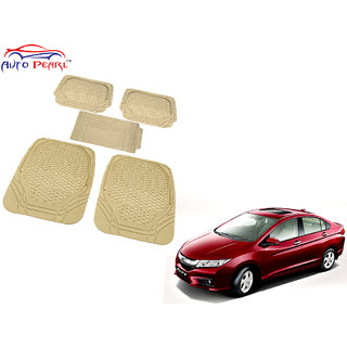 Auto Pearl - Premium Luxurious Quality Heavy Duty Light Weight Beige 5Pc Pvc Rubber 8855Tw Car Mat For - Honda City Idtech
