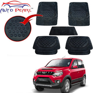 Auto Pearl - Premium Quality Heavy Duty Black 5Pc PVC Rubber 6604 Smoke Car Mat For - Mahindra Nuvo Sport