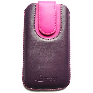 Emartbuy Purple / Pink Plain Premium PU Leather Slide in Pouch Case Cover Sleeve Holder ( Size 3XL ) With Pull Tab Mechanism Suitable For Nokia Lumia 630