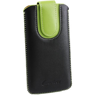 Emartbuy Black / Green Plain Premium PU Leather Slide in Pouch Case Cover Sleeve Holder ( Size 3XL ) With Pull Tab Mechanism Suitable For Fly Thunder Iq 4405 Quad
