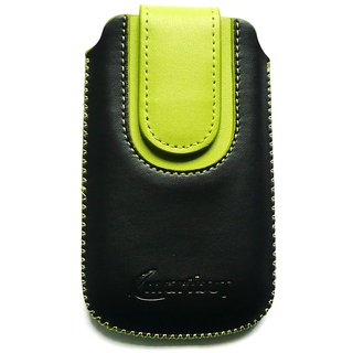 Emartbuy Black / Green Plain Premium PU Leather Slide in Pouch Case Cover Sleeve Holder ( Size 3XL ) With Pull Tab Mechanism Suitable For XOLO Win Q900s