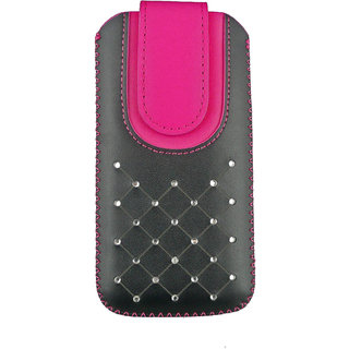 Emartbuy Black / Hot Pink Gem Studded Premium PU Leather Slide in Pouch Case Cover Sleeve Holder ( Size 3XL ) With Pull Tab Mechanism Suitable For Salora Arya A1 plus