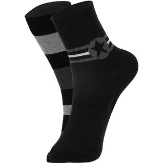 DUKK Men's Black Glean Length Cotton Lycra Socks (Pack of 2)
