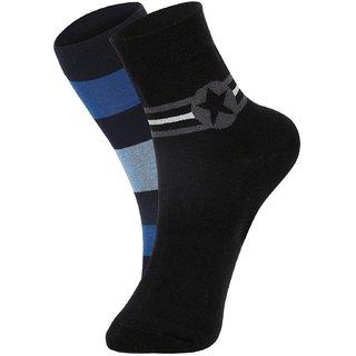 DUKK Men's Blue  Black Glean Length Cotton Lycra Socks (Pack of 2)