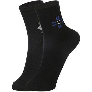 DUKK Men's Black  Navy Blue Ankle Length Cotton Lycra Socks (Pack of 2)