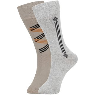DUKK Men's Beige  Grey Glean Length Cotton Lycra Socks (Pack of 2)