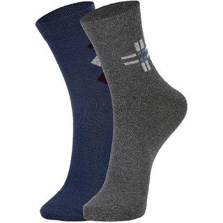 DUKK Men's Blue  Grey Ankle Length Cotton Lycra Socks (Pack of 2)