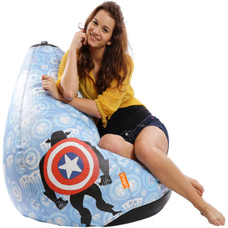 ORKA Captain America Shield Digital Printed Bean Bag Filled with Beans