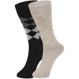 DUKK Men's Black  Beige Glean Length Cotton Lycra Socks (Pack of 2)