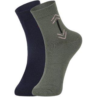 DUKK Men's Blue  Green Ankle Length Cotton Lycra Socks (Pack of 2)