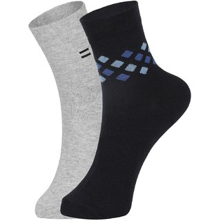 DUKK Men's Grey  Blue Ankle Length Cotton Lycra Socks (Pack of 2)