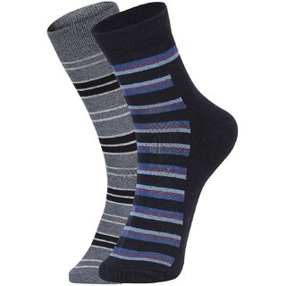 DUKK Men's Grey  Navy Blue Ankle Length Cotton Lycra Socks (Pack of 2)