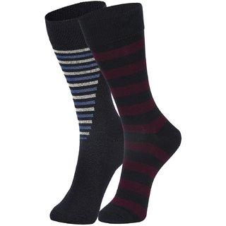 DUKK Men's Navy Blue Glean Length Cotton Lycra Socks (Pack of 2)