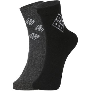 DUKK Men's Grey  Black Ankle Length Cotton Lycra Socks (Pack of 2)