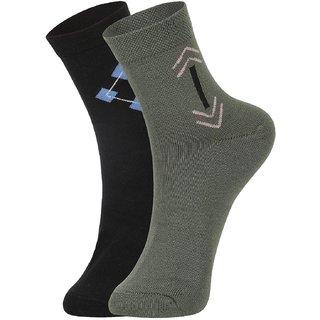 DUKK Men's Black  Green Ankle Length Cotton Lycra Socks (Pack of 2)
