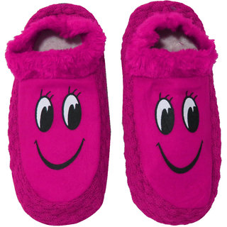 Neska Moda Premium Smiley Soft Cotton And Fur Girl Booties Indoor Slippers Age Group 12 To 15 Years Pink Black S271